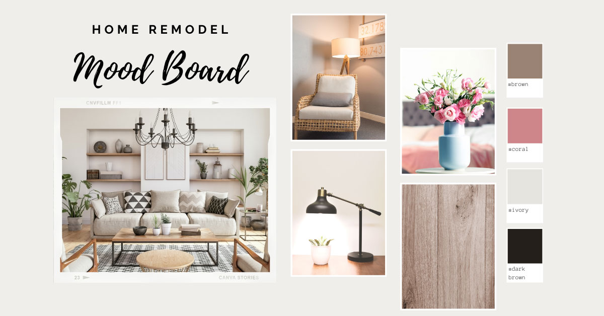 Example of a mood board for a living room remodel project