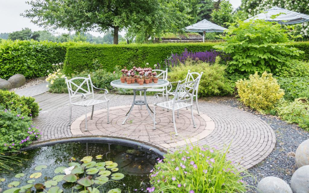 backyard patio with pond