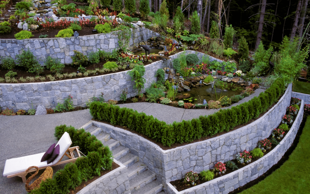 patio with retaining walls